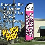 Cheap EYEBROW THREADING Windless Feather Banner Flag Kit (Flag, Pole, & Ground Mt)