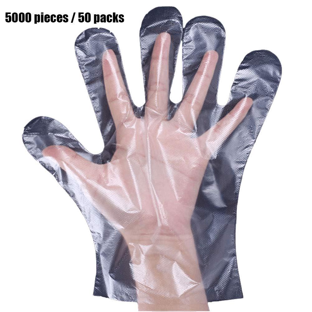 使い捨てビニール手袋、食品グレードの家庭用非クリーン処理キッチンクリーニングプラスチック透明肥厚(5000個) B07QK5VWSQ