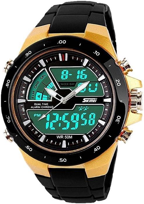 QBD adolescente Boy de los estudiantes de la función Multi reloj digital-analógica -50 M waterproof- pantalla Dual zonas de tiempo, alarma, cronómetro, ...