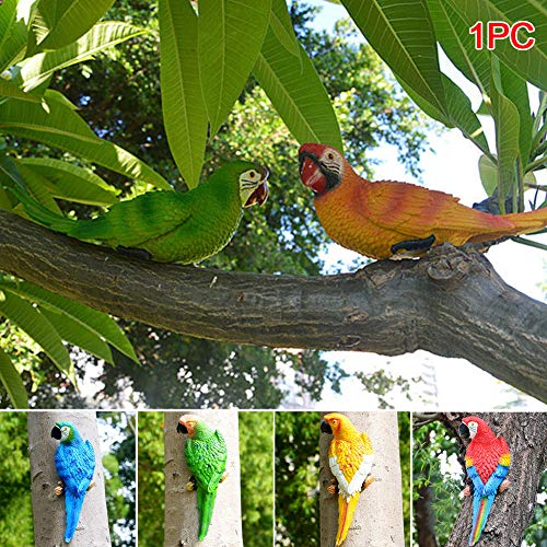 MORE11 Kawaii Simulation Forest Parrot Figures Miniature Animal Model Bird Half Side Lifelike Sculpture(Blue 2#) by MORE11