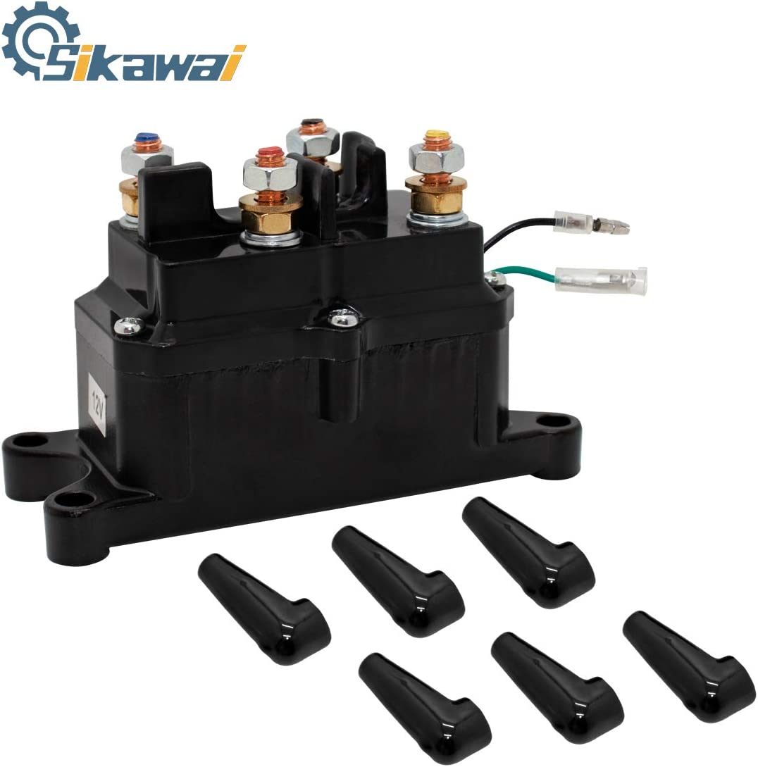 Sikawai Winch Solenoid Relay Contactor 12V 250A with 6 Protecting Caps for 4x4 Vehicles UTV ATV Winch Solenoid