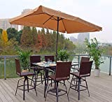 Pebble Lane Living 7pc Exclusive Hand Woven Wicker Bar Dining Set with Umbrella