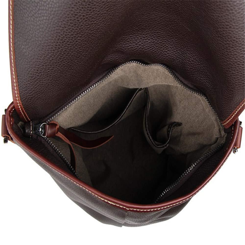 30.5cm X 4cm X 32cm Briefcase FLYSXP Mens Messenger Bag Leather Mens and Postmans Shoulder Bag Shoulder Bag Black//Coffee Color : Brown