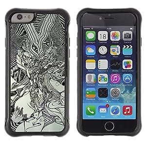 Suave TPU GEL Carcasa Funda Silicona Blando Estuche Caso de protección (para) Apple Iphone 6 PLUS 5.5 / CECELL Phone case / / Black White Art Drawing Graphic Painting /