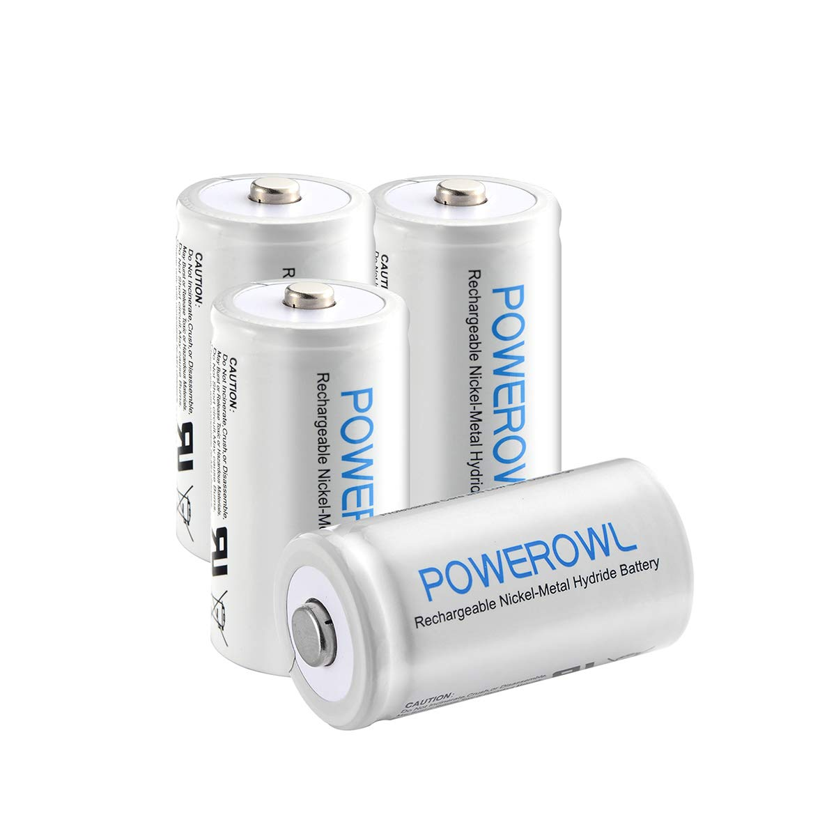 POWEROWL Rechargeable C Batteries Ni-mh C Size Nickle Metal Hydride 5000mah 1.2v Low Self Discharge C Batteries 4 Pack by POWEROWL