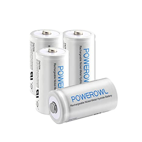 POWEROWL D Bateria Recargables Alta Capacidad 10000mAh 1.2V Ni-MH Precarga D Pilas Recargables