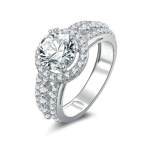 Daesar Joyería Anillos de Compromiso de Plata S925 Mujer, Alianzas Boda Sello y Pequeño Diamantes