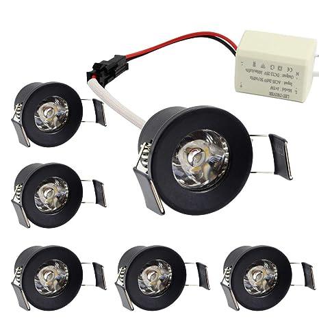 new arrival 84c81 79f76 LEDIARY 1 inch Black Mini Recessed LED Light with LED Driver,1.5W 110V Warm  White 3000K,100 Lumens,Ceiling Lights 6 Pack