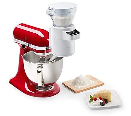 KitchenAid 5KSMSFTA Bilancia e setaccio, Accessorio per Robot da Cucina,  Bianco
