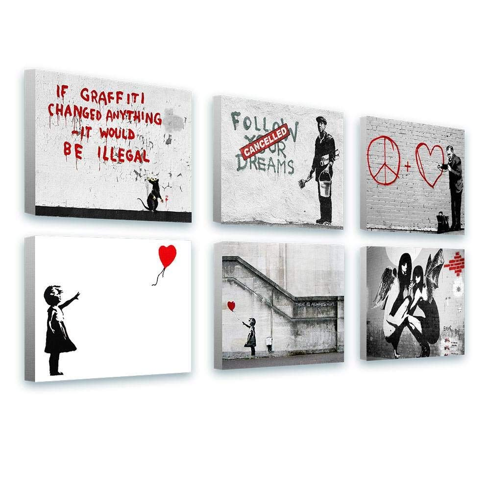 Alonline Art - There is Always Hope Balloon Girl by Banksy | Framed Stretched Canvas on a Ready to Hang Frame - 100% Cotton - Gallery Wrapped | 27''x20'' - 68x51cm | Set of 6 Lot | HD Oil Painting