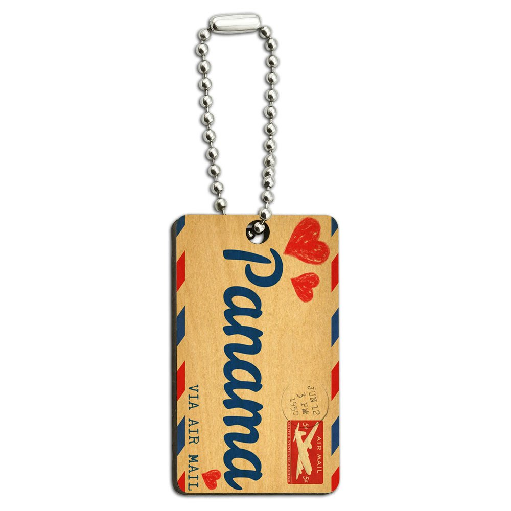 Air Mail Postcard Love for Panama Wood Wooden Rectangle Key Chain