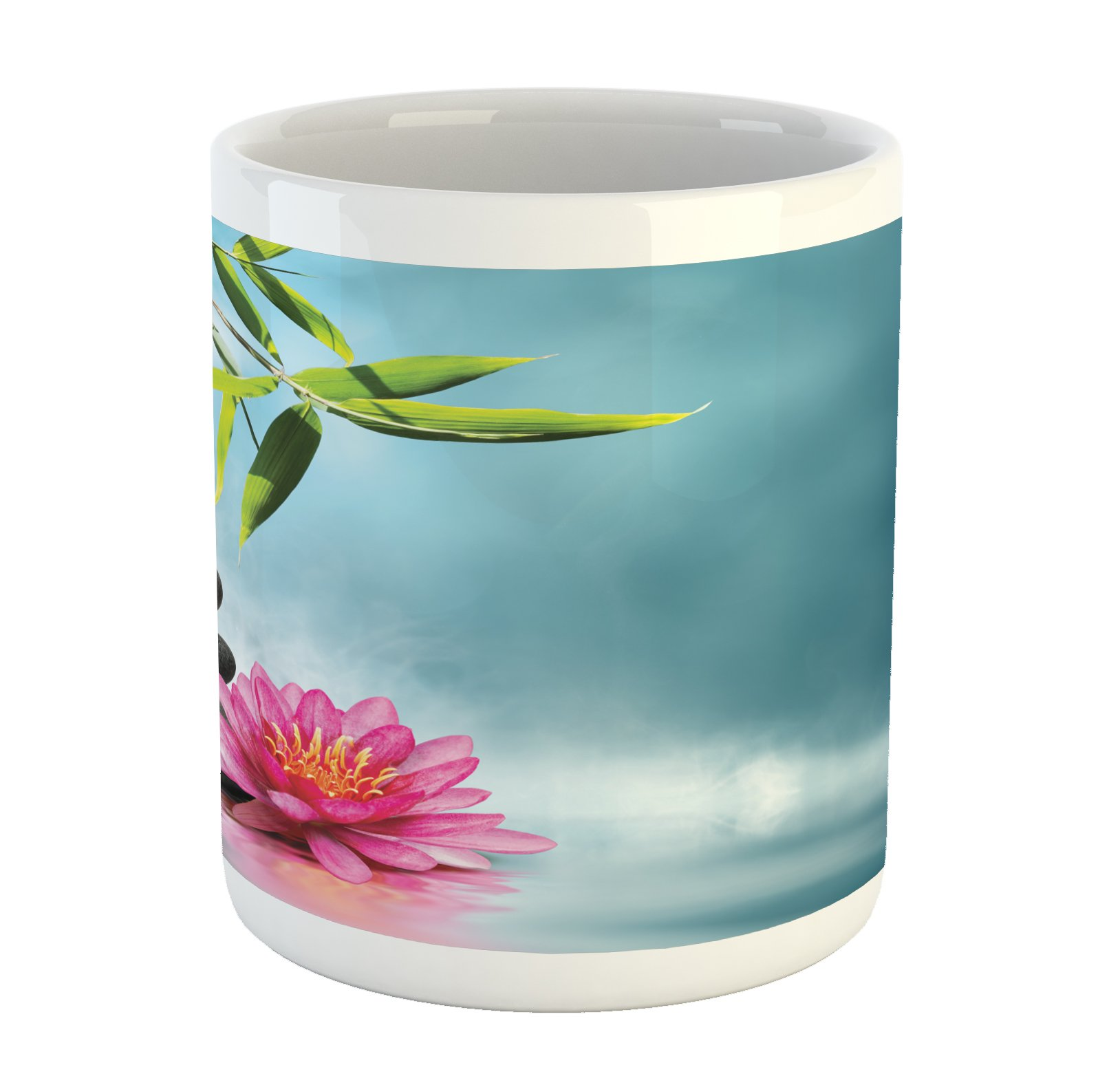 Ambesonne Spa Mug, Spa Theme with Lily Lotus Flower and Rocks Yoga Style Purifying Your Soul Theme, Printed Ceramic Coffee Mug Water Tea Drinks Cup, Blue Pink Green