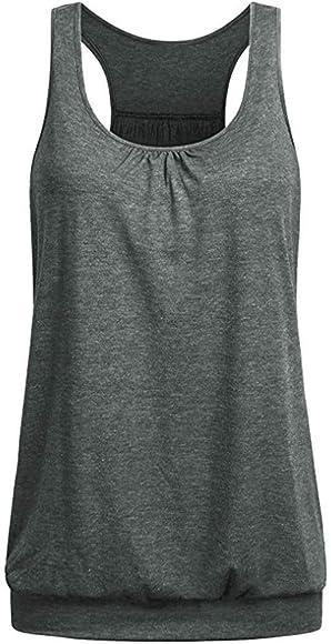 Mujeres Camiseta Tirantes Deportiva, Blusa Tallas Grandes Camisa Tops sin Mangas Camiseta Basicas Gimnasio Gym Running Fitness Camiseta Gris S: Amazon.es: Ropa y accesorios