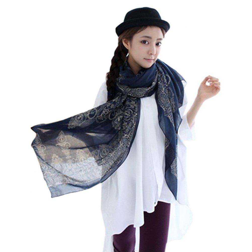 Echarpe Foulard Long Doux Mode Nouveau Chaud Automne Hiver pour Femmes (Bleu  Foncé)  Amazon.fr  Vêtements et accessoires 8785b446e96