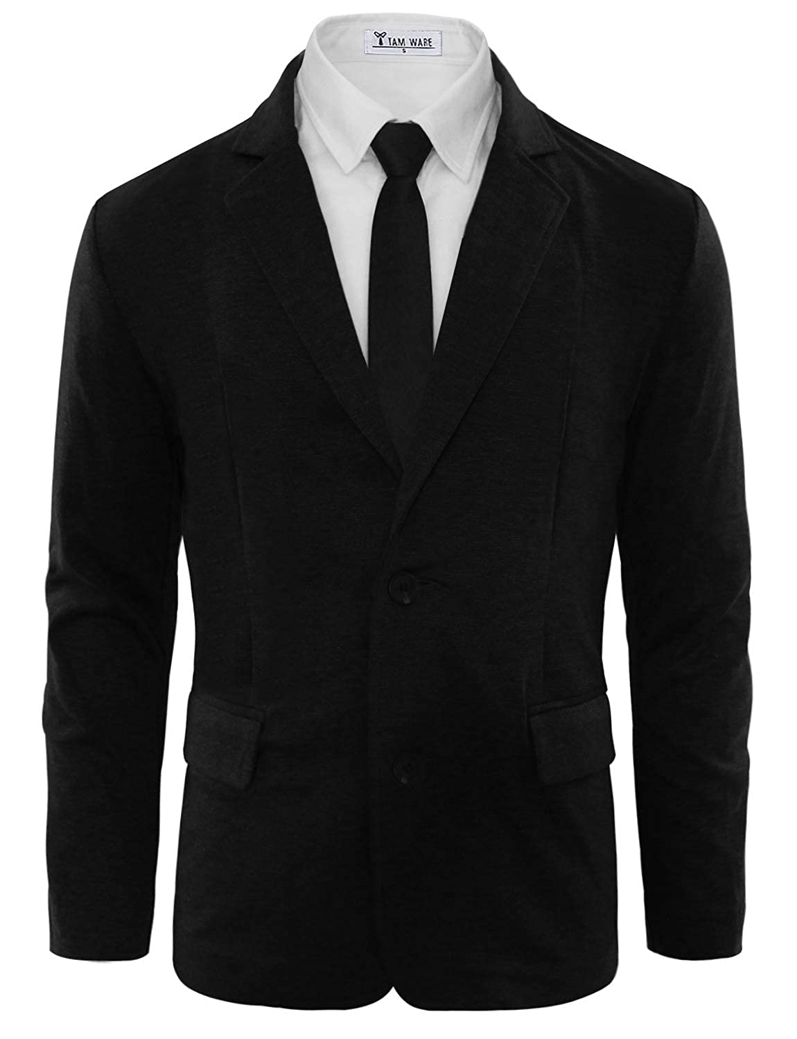 TAM WARE Mens Casual Slim Fit Single Breasted Two Button Blazer Jacket