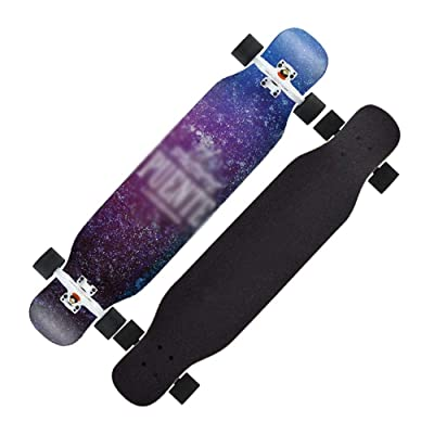 YJH Complete Longboard Skateboard - 42 inch, 8 Ply Maple , Dancing, Cruising, Curving, Freeride Slide, Freestyle and Downhill Freestyle Cruiser for Teens or Adults (Color : A) : Sports & Outdoors