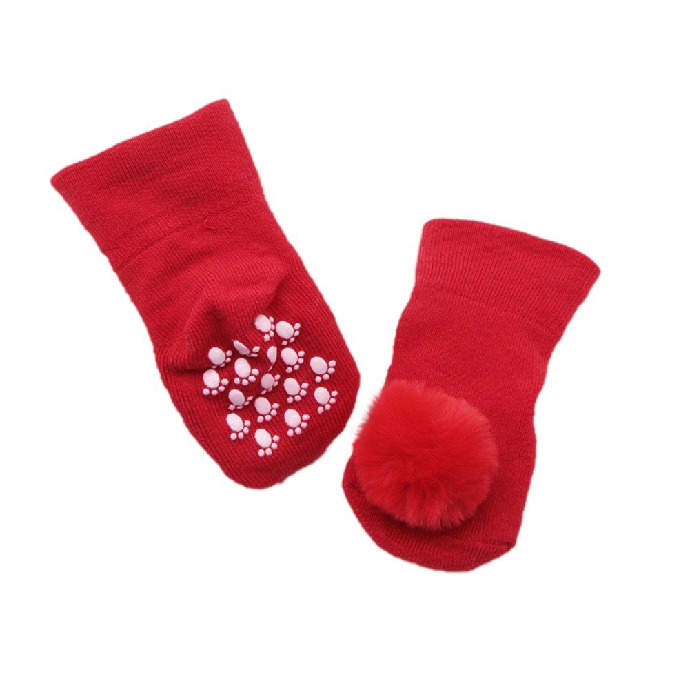 BOBORA B/éb/é Fille Nourrissons Coton Chaussettes Automne Hiver Chaud Pom Pom Boules Antid/érapant Cheville Chaussettes pour 0-12 mois