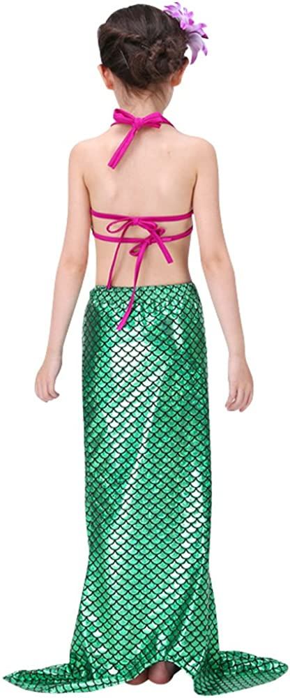 Wocharm 3PCS Kids Girls Mermaid Swimmable Tail Bikini Set Swimwear Swimsuit Bathing Suit