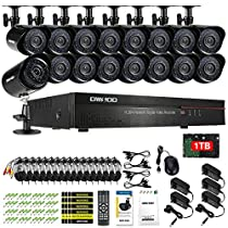 OWSOO 1TB Weatherproof 16CH CIF 800TVL CCTV Surveillance DVR Security System HDMI P2P Cloud Network Digital Video Recorder&16 Outdoor/Indoor Infrared Bullet Camera&1660ft Cable support IR-CUT