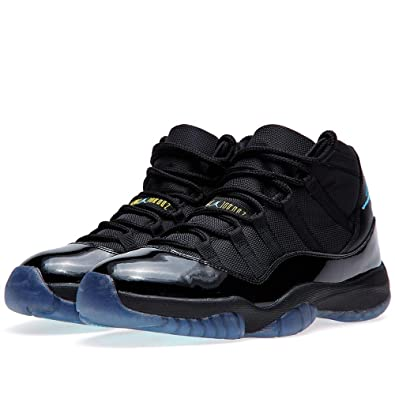 NIKE Mens Air Jordan 11 Retro Black/Gamma Blue Leather Basketball Shoes  Size 7.5