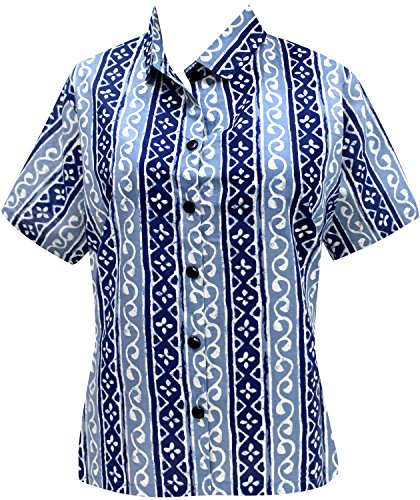 La Leela Cotton short sleeve button down button up cruise tropical carribean blouses Women's Hawaiian Shirt XL Blue Fathers Day Gifts Spring Summer 20…