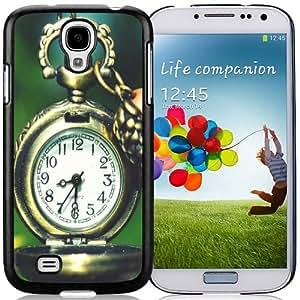 NEW Unique Custom Designed Samsung Galaxy S4 I9500 i337 M919 i545 r970 l720 Phone Case With Clocks Flower Macro Pocket Watch_Black Phone Case