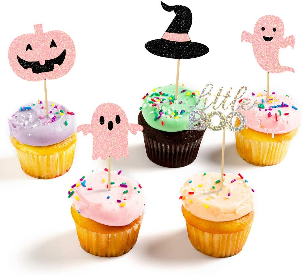 Halloween cake Toppers Pink Glitterly,Halloween Cupcake Toppers Set with Pink Pumpkin littele Boo Letter, Witch Hat, Ghosts Cake Picks for Halloween Cupcake Decorations Birthday Party Decorations (30 Pcs)