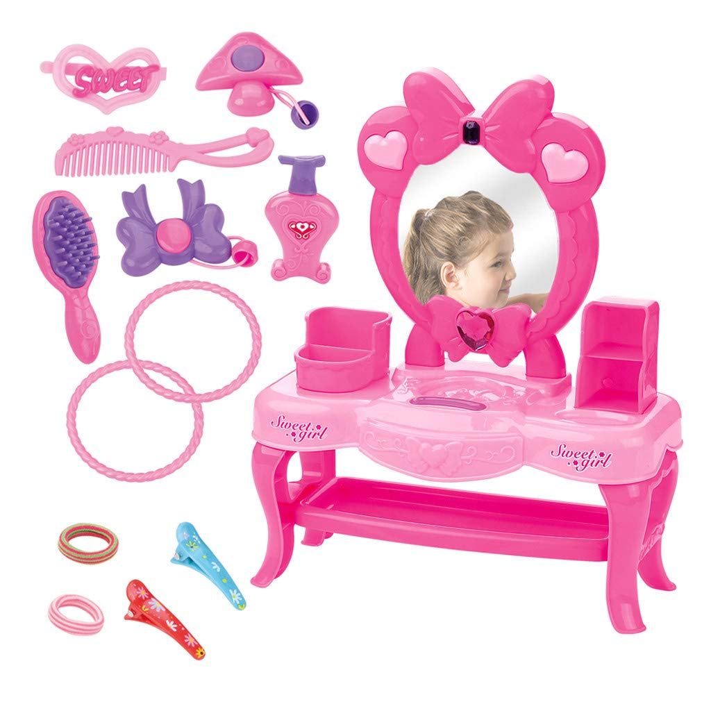 BAOHOKE Pretend Play Dressing Table for Girls Pink Princess Dresser Beauty Set with Makeup Mirror (Small) by BAOHOKE-TOY