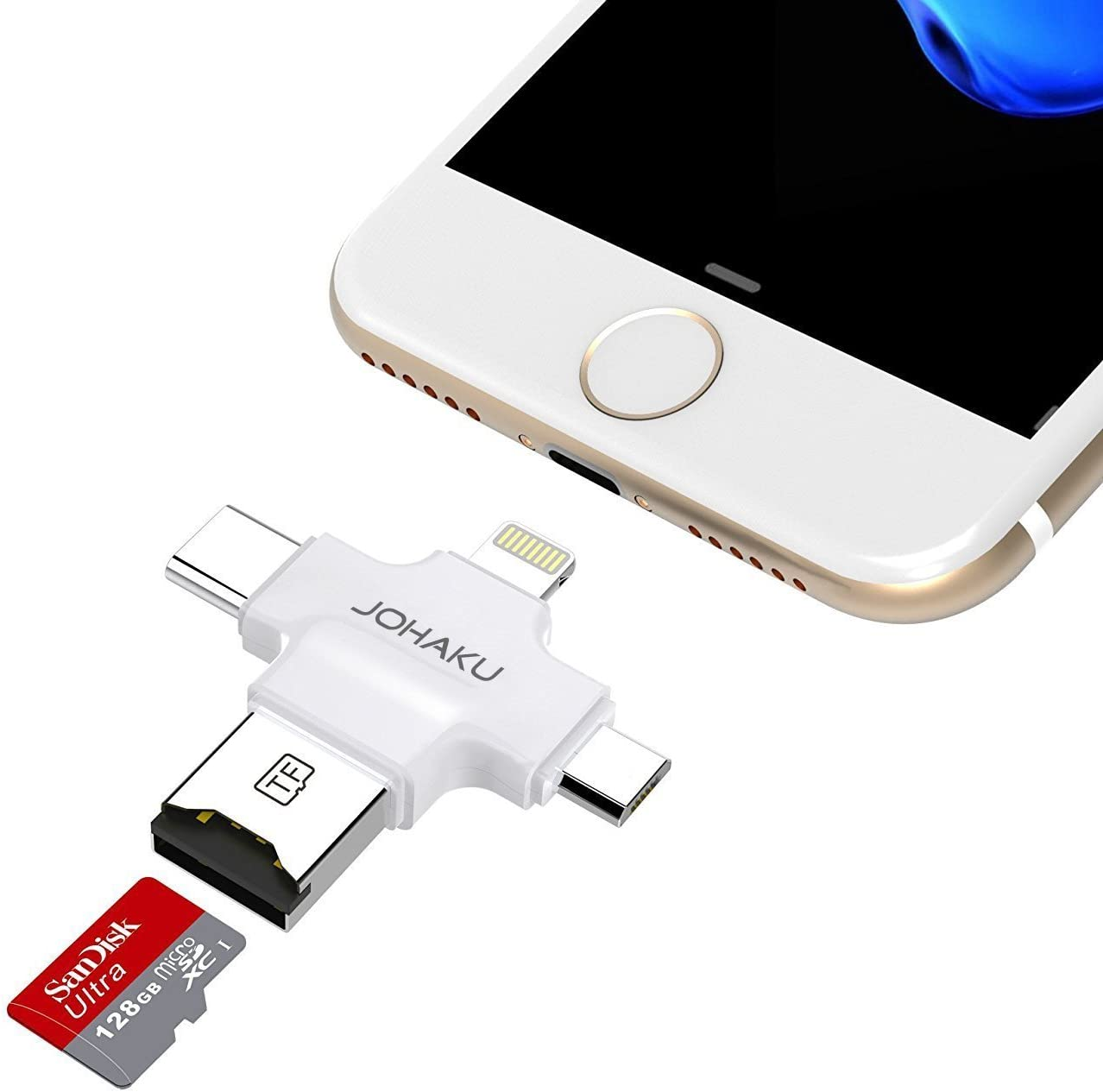 JOHAKU Card Reader, 4 in 1 Micro SD Card Reader with Type C USB Connector OTG HUB Adapter, TF Flash Memory Card Readers For iPhone iOS/Android USB2.0