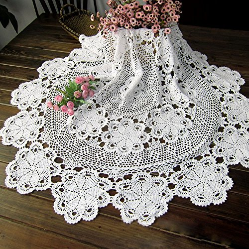 TideTex Simple Cotton Lace Weave Tablecloths Handmade Crochet Flower Design Hollow Out Rural Style Table Covers Doilies Coffee Table Round Table Cloth Decoration (54-Inch Round, White) (Style Round Cocktail)