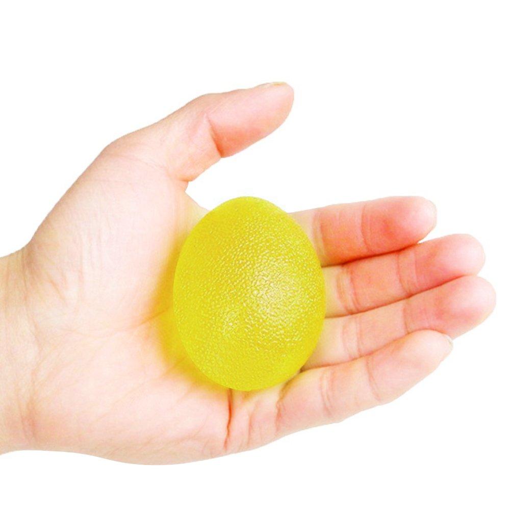 SKL Pelotas de ejercicio de mano de resistencia a los huevos, pelotas de agarre para entrenamiento de fuerza de mano, terapia física, rehabilitación de lesiones, 3 unidades (rojo, azul, amarillo)