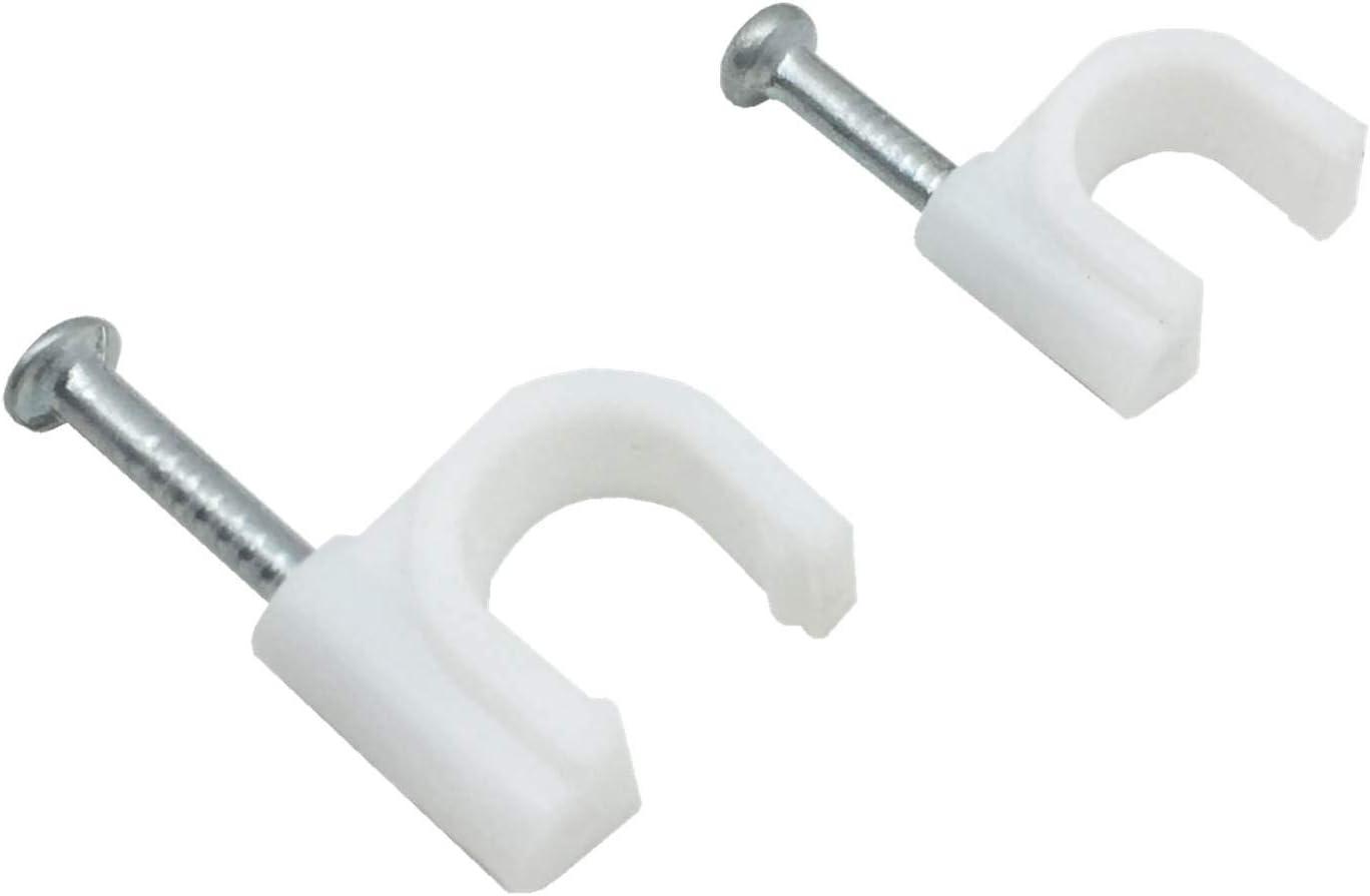 color blanco melhope 8/mm 100pcs Clips de cable redondo clavos de acero