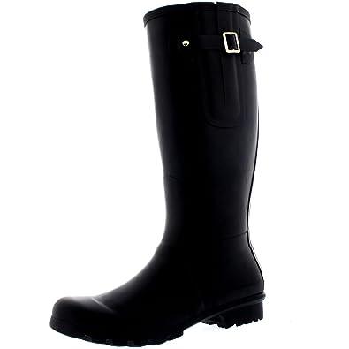 28388eb5dd7 POLAR Mens Tall Adjustable Side Waterproof Rubber Wellie Wellington Rain  Boots