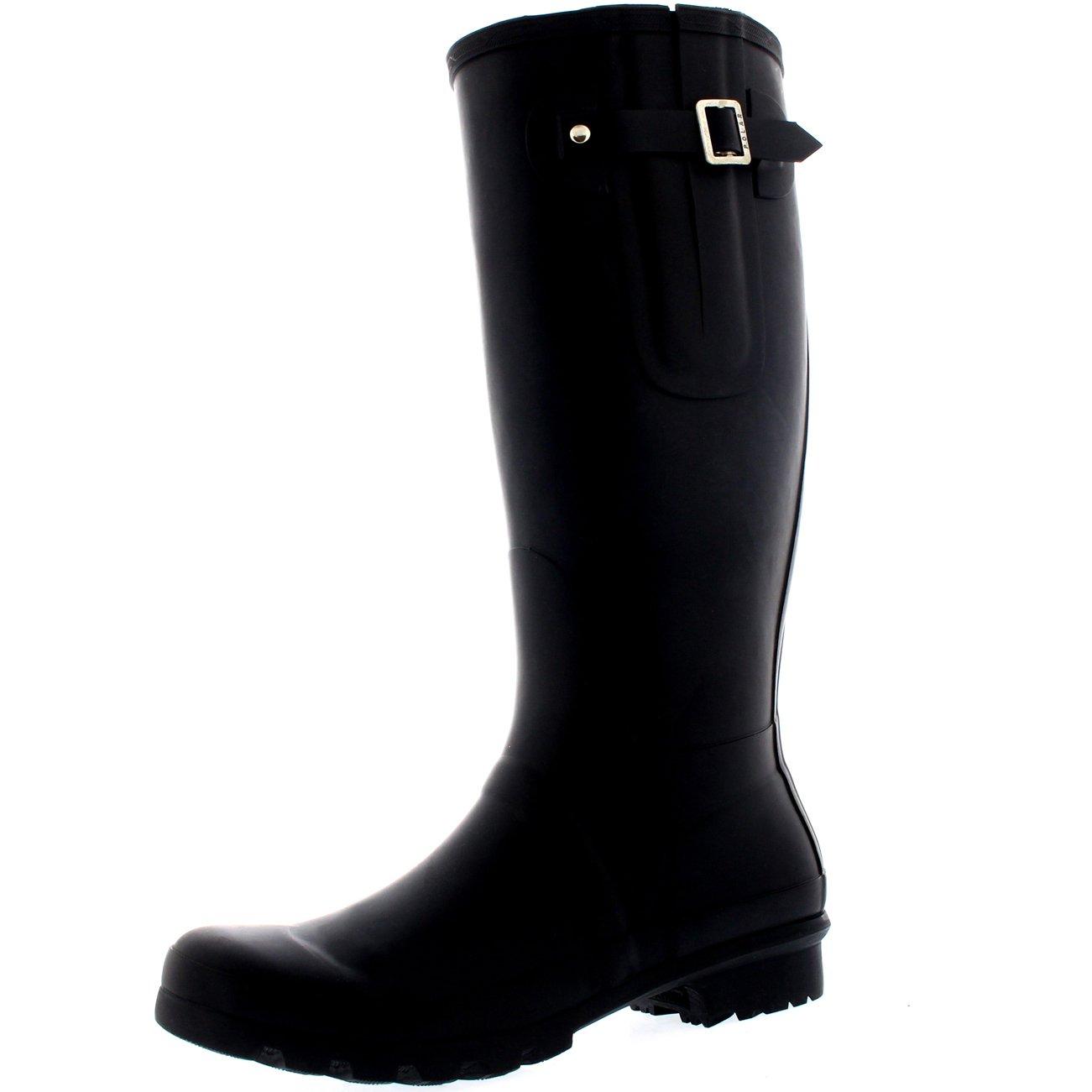Polar Mens Tall Adjustable Side Waterproof Rubber Wellie Wellington Rain Boots - Black - US13/EU46 - BL0236