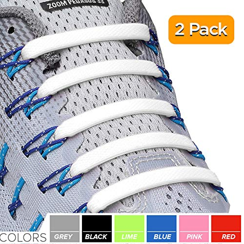 2SPORTIFY No Tie Shoelaces for Kids and Adults - Tieless Elastic Shoe lace for Sneakers Silicone Flat Laces (2 Pack) (White - Gray)