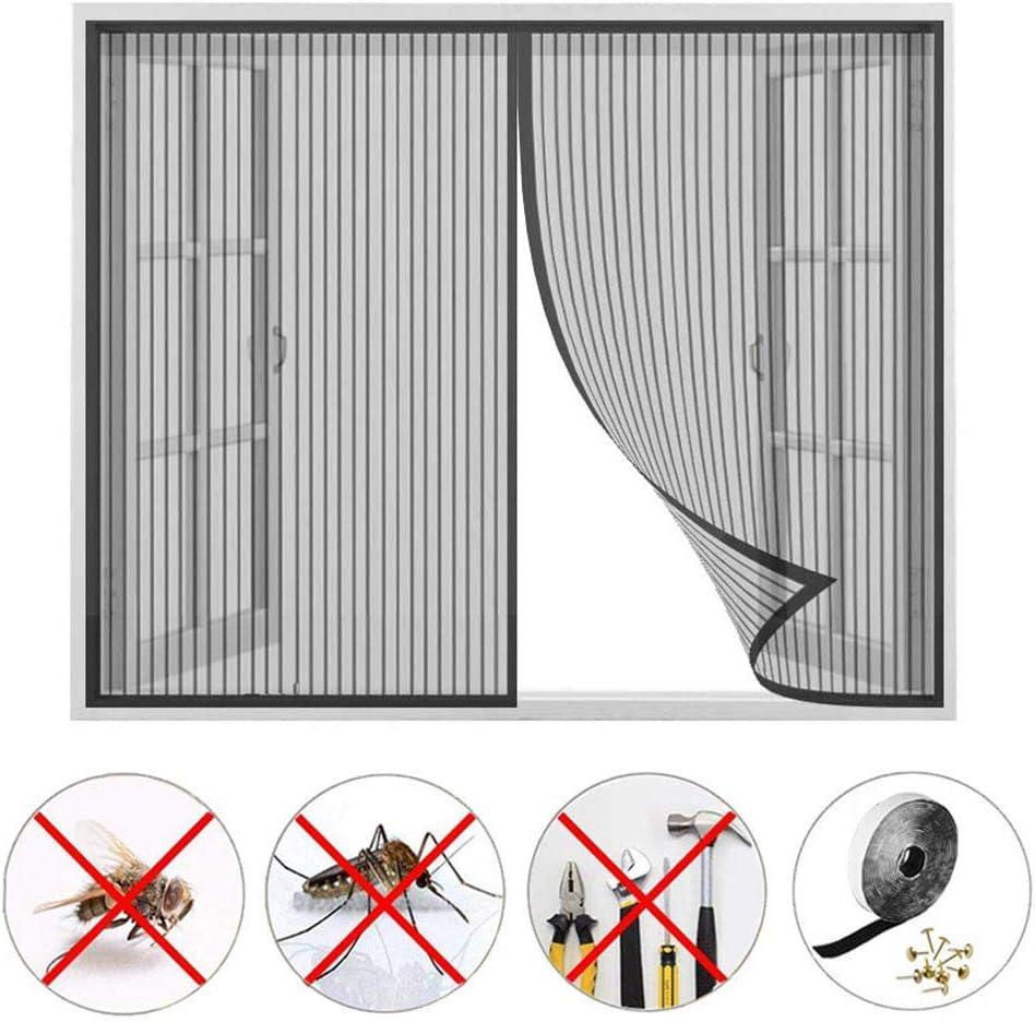 Negro WxH Mosquitera Ventana Magnetica,Cortina de Ventana para Prevenir Mosquitos y Insectos Anti-mosquito,Tama/ño completo