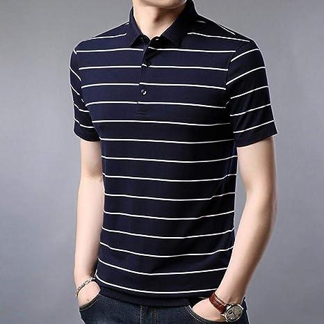 YFLTP Polo para Hombre - Camisa de Rayas con Cuello Verde XXL ...