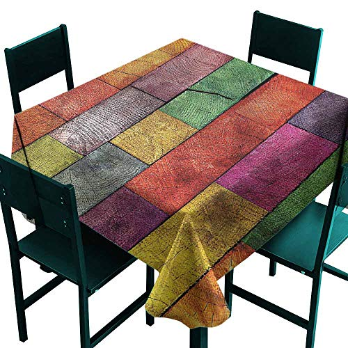 Rainbow Timber - DONEECKL Oil-Proof and Leak-Proof Tablecloth Rustic Rainbow Timber Art and Durable W70 xL70