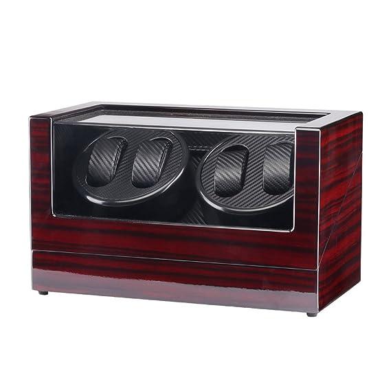 TAIYU Double Head 4 Slots Lacquer Wood Rotar reloj eléctrico Winder Box Silent Motor Display reloj