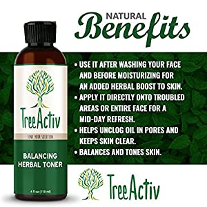 TreeActiv Balancing Herbal Toner | Facial Skin Moisturizer | Witch Hazel | Rose Water | Clary Sage | Tea Tree | Natural Astringent | Alcohol-Free | Reduce Oily Face Acne | Men, Women, Teens | 4 fl oz