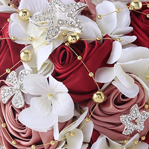 Zebratown 11'' Artificial Rose Romantic Galaxy Wedding Bouquet Wedding Flowers Crystal Pearls Bouquets Bridal Bouquets (Wine Red)