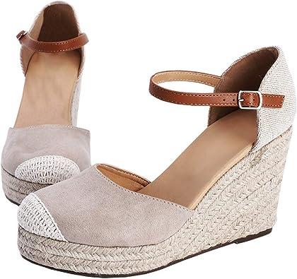 Espadrilles for Women Wedge Closed Toe,Womens Summer Espadrille Heel Platform Wedge Sandals Ankle Buckle Strap Shoes