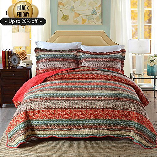 mixinni 100% Cotton 3 Piece Striped Boho Style Bedspread Quilt Sets, Reversible&Decorative---(1 Quilt 96''W x 106''L + 2 Pillow Shams 20''W x 36''L), King Size,Red by mixinni