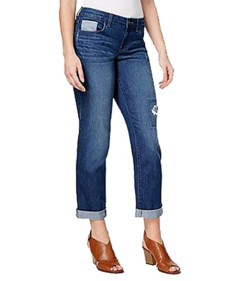 customers first hot-selling latest finest fabrics Style & Co. Petite Curvy-Fit Patchwork Boyfriend Jeans (Mal ...