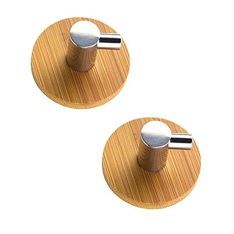 Ganchos adhesivos de bambú y acero inoxidable de LFS con ganchos para toalla de 3 m