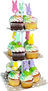 3-Tier Cupcake Stand Dessert Stand Fruit Plate Food Serving Tray for Wedding Birthday Party Baby Shower Decoration Square