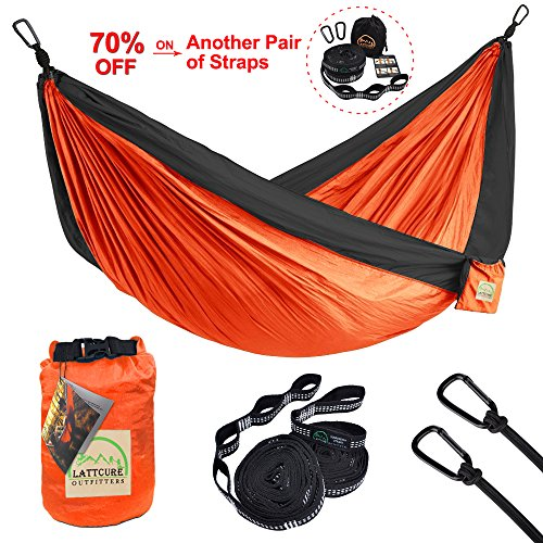 Double Camping Hammock, LATTCURE Lightweight Portable Hammock Parachute Nylon Fabric & 600LB High Capacity with 2 Adjustable Hanging Straps for Camping Backpacking Travel Beach Yard(Orange+Grey)
