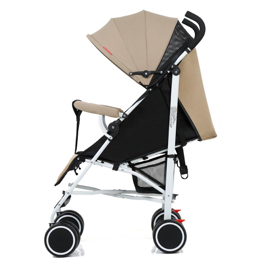 ベビーカーの傘の子供は折りたたみポータブルミニベビーカーに座ることができます (色 : カーキ)  カーキ B07G2J86WT