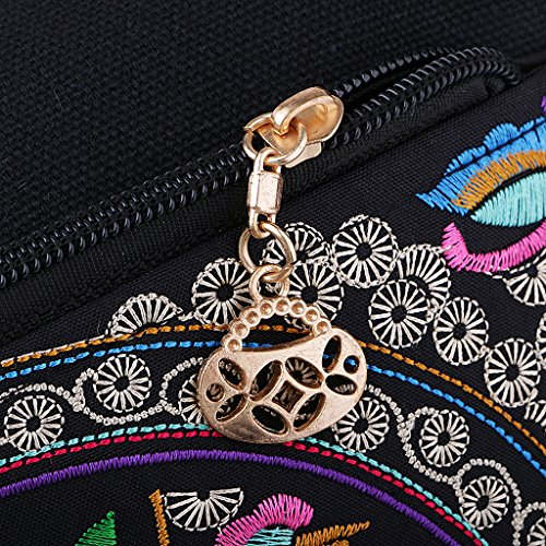 Double Bags Bag D Women Flower 3 Handmade Embroidery 24x17cm DOLITY Travel Faced Shoulder vqHXpq