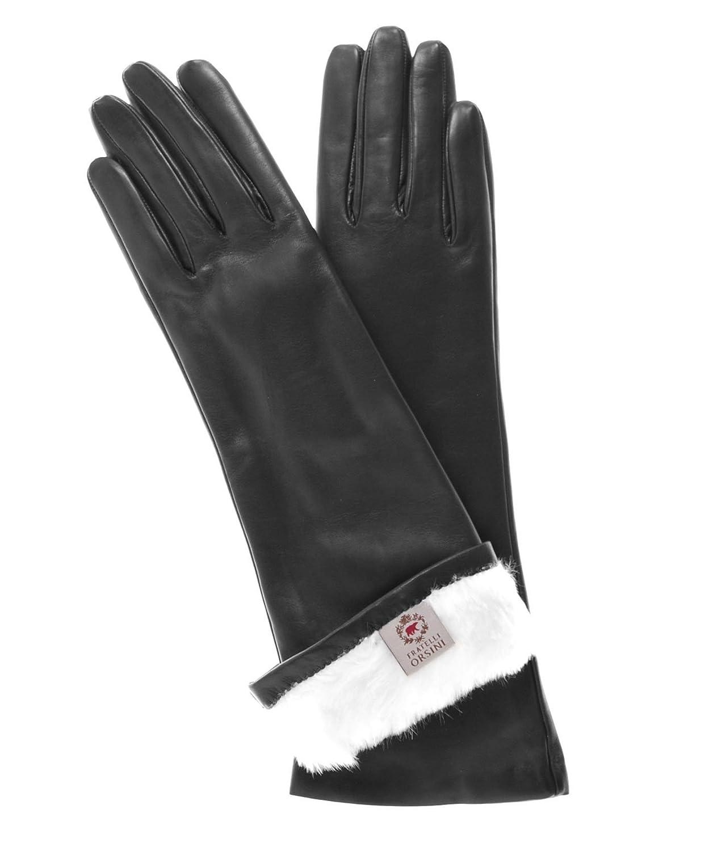 Women's High-Quality Black Italian Lambskin Rabbit Fur Lined 6-Button Length Gloves